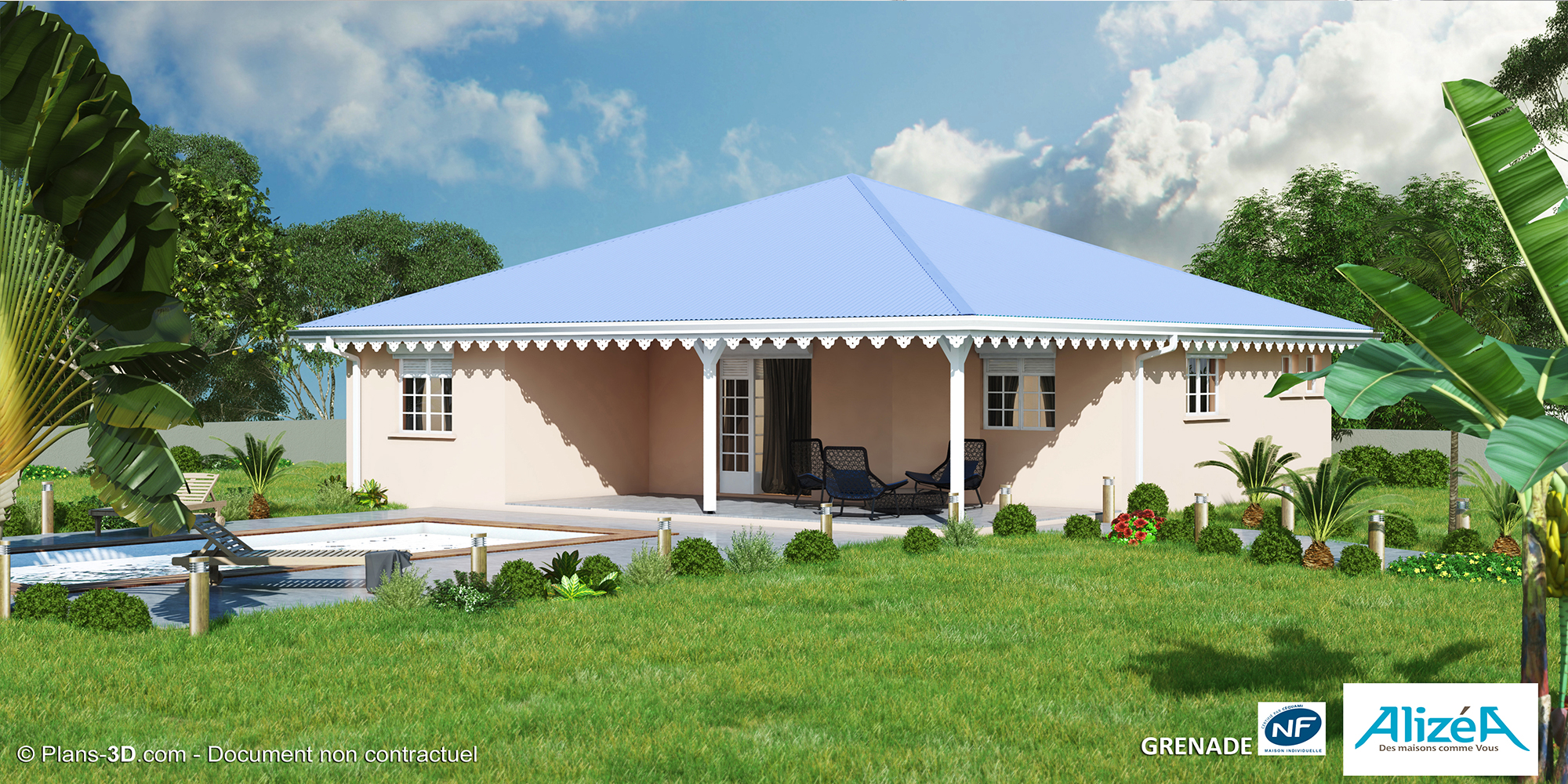 mod le grenade constructeurs de maisons nf en martinique 972 maisons aliz a. Black Bedroom Furniture Sets. Home Design Ideas